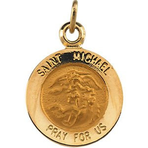 14K Yellow 12 mm St. Michael Medal