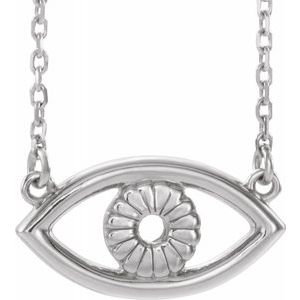 "Sterling Silver Evil Eye 16"" Necklace"