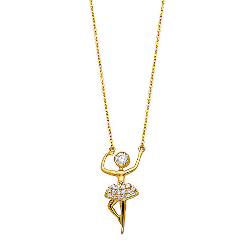 14K Gold Fancy ballerina Necklace with CZ Stones