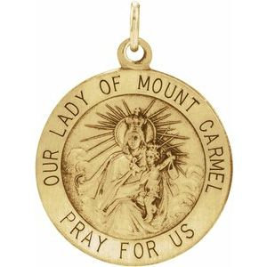 14K Yellow 18 mm Our Lady of Mount Carmel Medal Pendant
