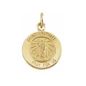 14K Yellow 12 mm Round St. Raphael Medal