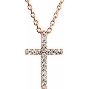 "14K Rose .07 CTW Diamond Petite Cross 16"" Necklace"