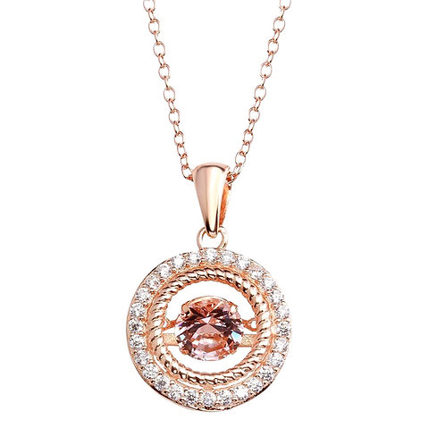 Dancing Cubic Zirconia Sterling Silver Rose Plated Open Pendent Necklace