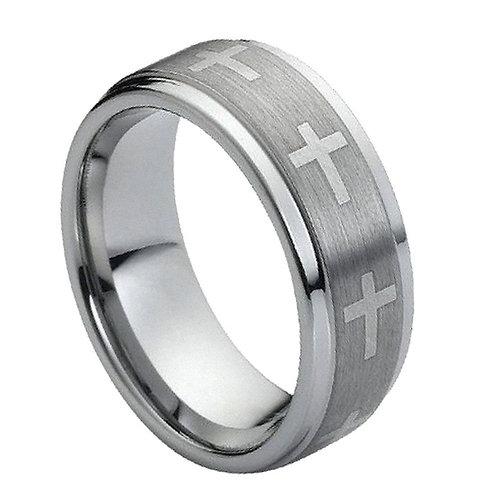 Ring Flat Laser Engraved Crosses on Brushed Center - 9mm