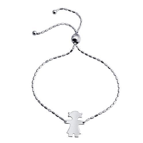 925 Rhodium Plated Girl Charm Lariat Bracelet