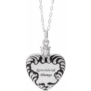 "Sterling Silver Remembered Always Ash Holder 18"" Necklace"
