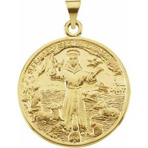 14K Yellow 26 mm St. Francis of Assisi Medal