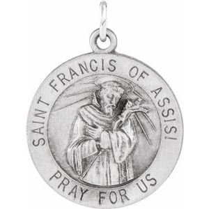 14K White 15 mm Round St. Francis of Assisi Medal
