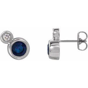 14K White Blue Sapphire & .03 CTW Diamond Earrings