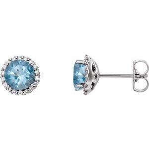 14K White Aquamarine & 1/6 CTW Diamond Earrings