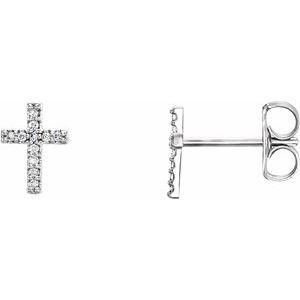 14K White .05 CTW Diamond Cross Pair of Earrings