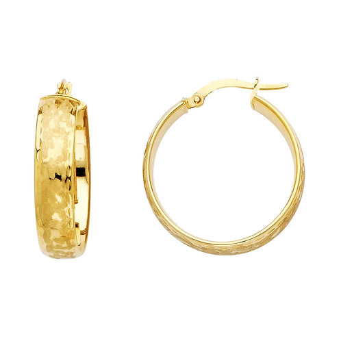 14K Yellow Gold 6mm Hollow Hoop Earrings
