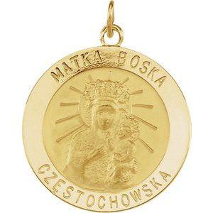 14K Yellow 25 mm Round Matka Boska Medal