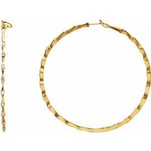 18K Yellow 1 1/5 CTW Diamond Inside-Outside 50.5 mm Hoop Earrings