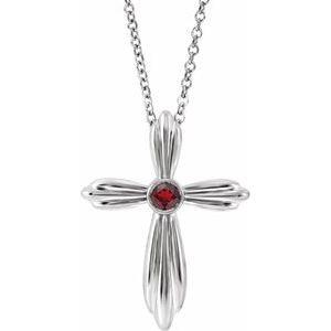 "Sterling Silver Mozambique Garnet Cross 16-18""  Necklace"