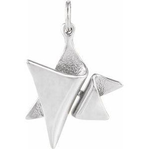 14K White 19x17 mm Star of David Pendant
