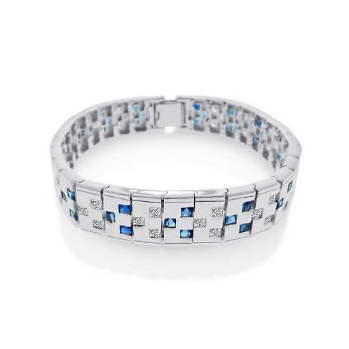 Blue and Clear Domino Men's Design Bracelet