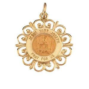 14K Yellow 18.5 mm Altagracia Holy Family Pendant Medal