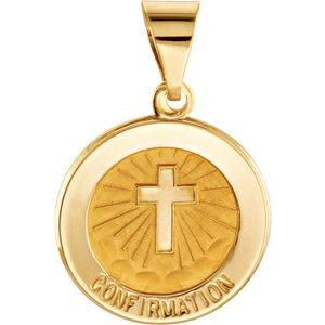 14K Yellow 15 mm Round Hollow Confirmation Medal