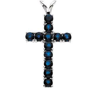 14K White Blue Sapphire Cross Pendant