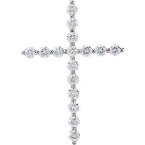 14K White 1 5/8 CTW Diamond Cross Pendant