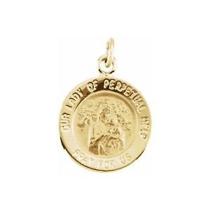 14K Yellow 12 mm Round Our Lady of Perpetual Help Medal