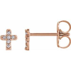 14K Rose .06 CTW Diamond Youth Cross Earrings