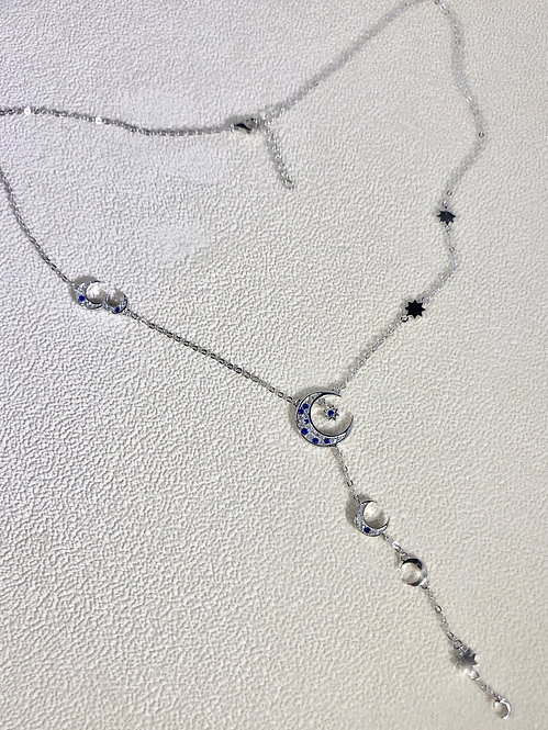 Crescent Moon And Stars Y Lariat Necklace