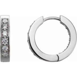 14K White 1/2 CTW Diamond Inside-Outside 15 mm Hoop Earrings