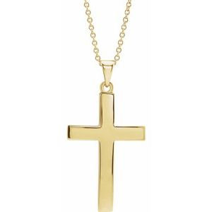 "14K Yellow Cross 18"" Necklace"