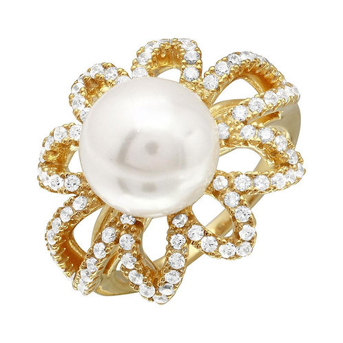 Synthetic Pearl Cubic Zirconia Sterling Silver Flower Ring