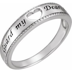 Sterling Silver Guard My Heart Ring Size 6