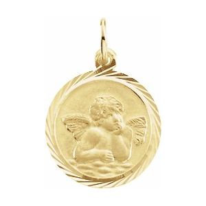 14K Yellow 18 mm Angel Medal