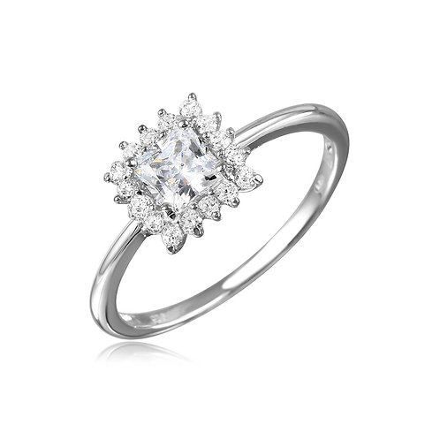 925 Rhodium Plated Square CZ Center Ring