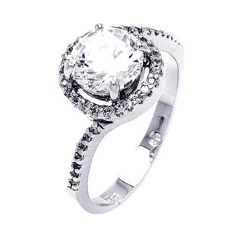 925 Rhodium Plated Clear Round Center CZ Bridal Ring