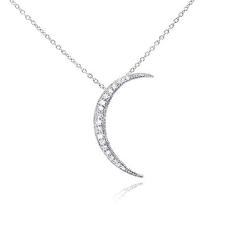 925 Clear CZ Rhodium Plated Solar Pendant Necklace