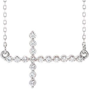 "14K White 1/3 CTW Diamond Sideways Cross 16-18"" Necklace"