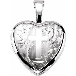 Sterling Silver Cross Heart Locket