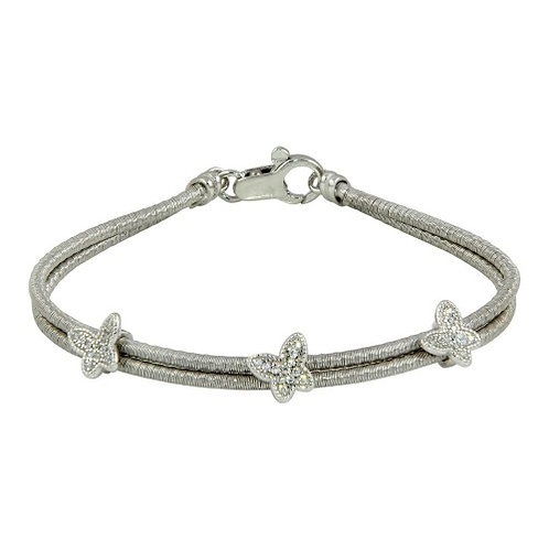 925 Rhodium Plated Double Strand Butterfly Bracelet