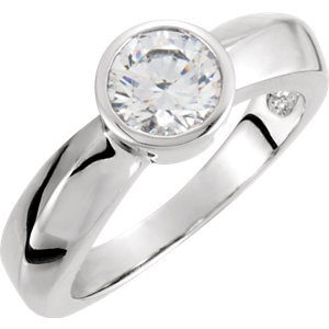 **10K White 5.25 mm Round Cubic Zirconia Solitaire Engagement Ring
