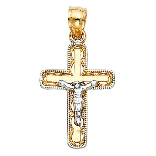 14K 2T WHITE GOLD CHRIST CRUCIFIX