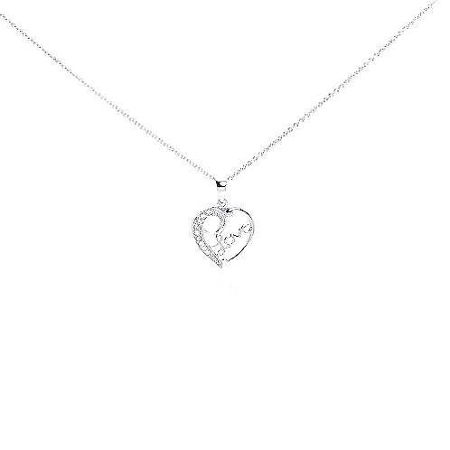 925 Clear CZ Rhodium Plated Heart Love Accent Pendant Necklace