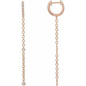14K Rose 1/4 CTW Diamond Hinged Hoop Chain Earrings