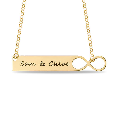 ENGRAVABLE INFINITY BAR NECKLACE