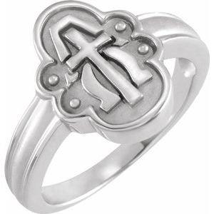 14K White Alpha Omega Cross Ring