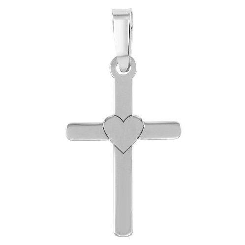 925 Rhodium Plated Cross and Heart Pendant