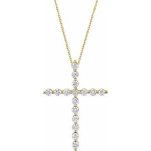 "14K Yellow 1/5 CTW Diamond Cross 18"" Necklace"