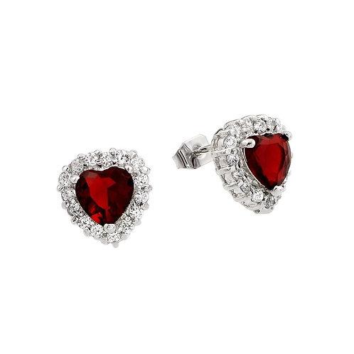 Red Heart Cubic Zirconia Sterling Silver Stud Earrings