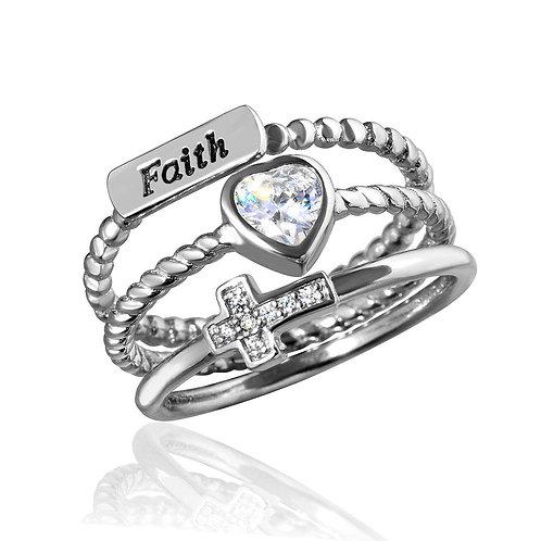 Faith Heart Cross Cubic Zirconia Sterling Silver Triple Ring
