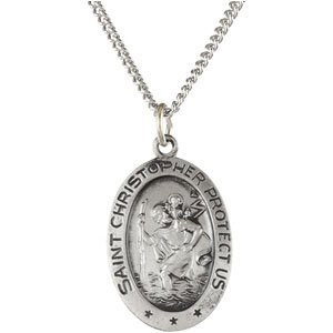 "Sterling Silver 19x14 mm Oval St. Christopher 18"" Necklace"